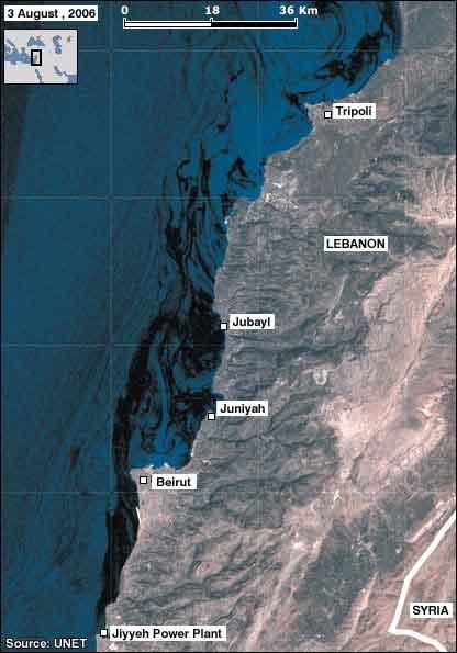 Нефтяное пятно у побережья Ливана (композитный снимок с сайта BBC от 3 августа)