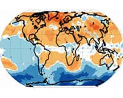 Карта температурних змін у нижній атмосфері за останні 27 років. Жовті, червоні й жовтогарячі кольори - підвищення температури за цей час, блакитні й сині - падіння (ілюстрація Qiang Fu)